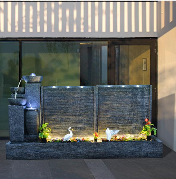 别墅流水墙景观图 日式庭院设计 武汉骏民造景园林艺术景观有限公司